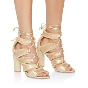 New in box! Lace up sateen sandals